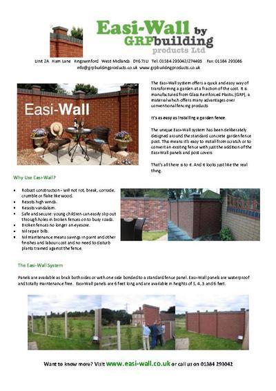 Easi Wall Brick Effect Perimeter System Grp Building