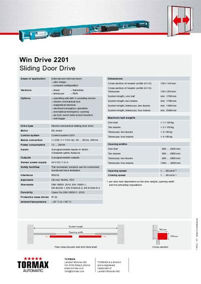 win drive 2201 compact sliding door drive tormax united kingdom win drive 2201 sliding door drive technical data sheet