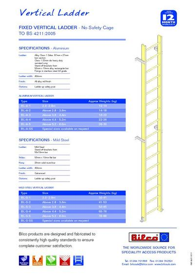 Type Bl Fixed Vertical Ladders In Aluminium Or Steel