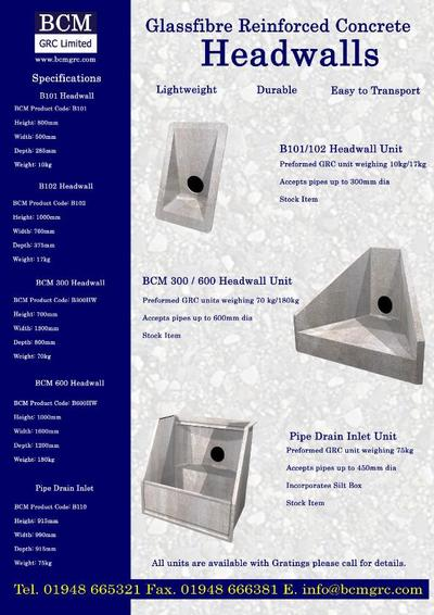 Bcm 600 Headwall Unit Bcm Grc Esi External Works