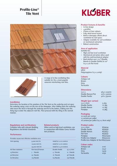 Venduct 174 Profile Line 174 Double Pantile Tile Vent Klober