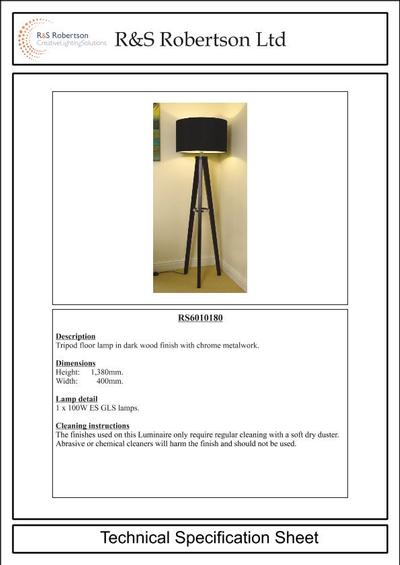 Rs6010180 Tripod Floor Lamp R Amp S Robertson Esi