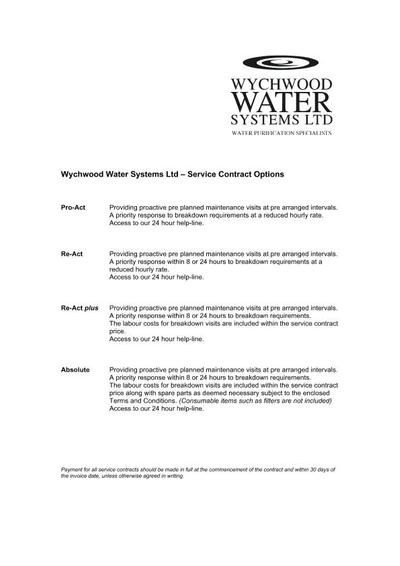 Water Treatment Plant Support Services Wychwood Water