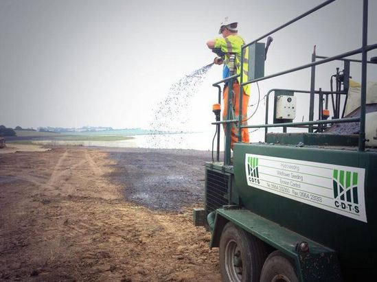Hydroseeding at Abberton Reservoir