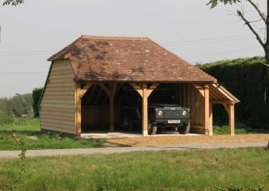2 Bay Oak Framed Garage Kit With Gable End And Log Store