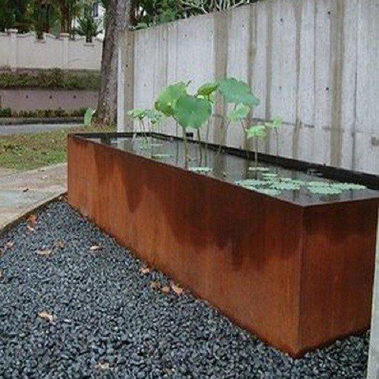 Corten Steel Pond Water Feature Round Wood Of Mayfield