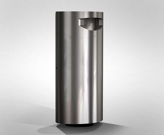 stainless steel litter bin with ashtray omos esi external works. Black Bedroom Furniture Sets. Home Design Ideas