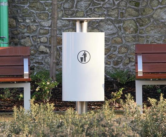 Omos t1 aluminium litter bin has 70-litre capacity