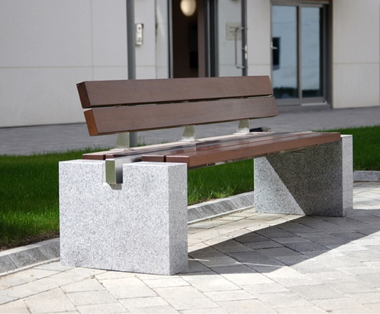 Omos s83 cut granite, stainless steel and timber seat
