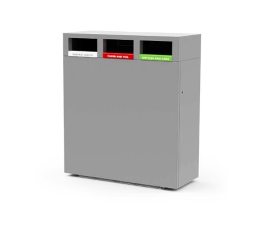 Omos s45 steel & aluminium recycling bin, 3 compartment