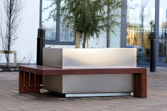 s57 stainless steel tree planter with bench seating