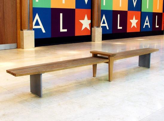 DB bench in FSC Iroko and cast aluminum