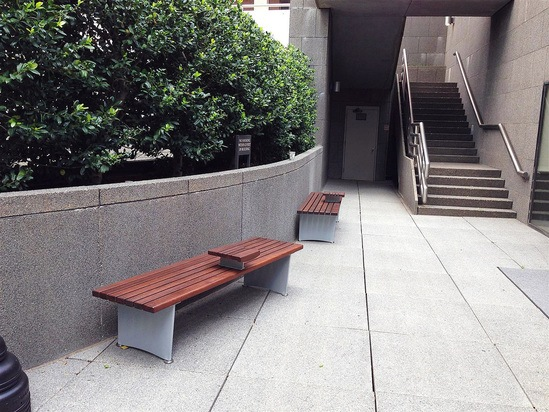 Benches specially adapted for landmark office gardens for Garden office wales