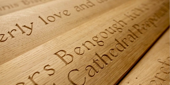 Carved oak benches for historic hereford cathedral area