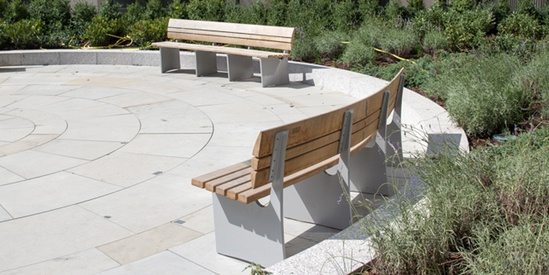 Bespoke curved benches made from air-dried FSC oak