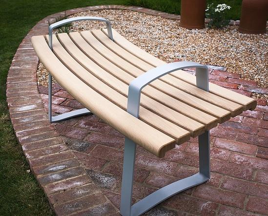 Meko curved bench in European oak and grey powder coat