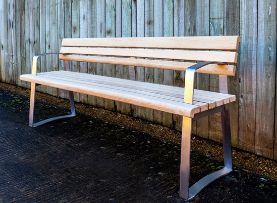MEKO long bench in FSC Oak and brushed stainless steel