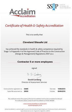 Cleveland Sitesafe's Acclaim Accreditation