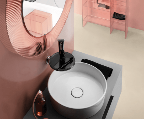 Kartell round sink, pleated mirror and sink fitting