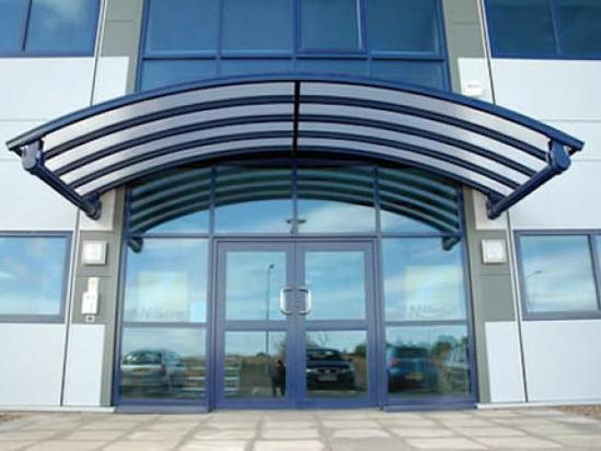 Uxbridge cantilever entrance canopy Clovis Canopies