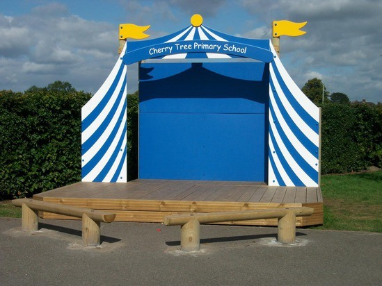 customised stage with benches