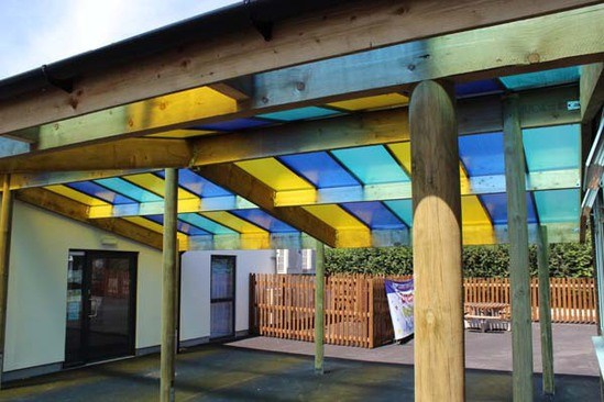Rainbow Canopy With Coloured Polycarbonate Sheets Setter
