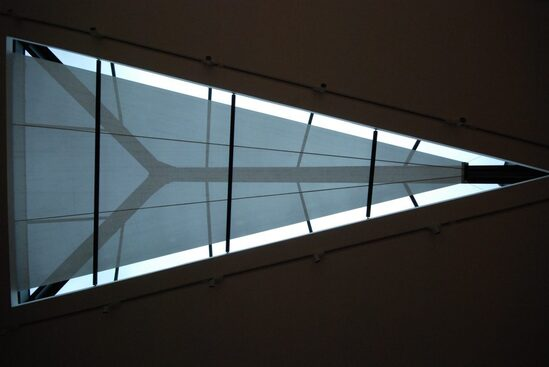 MAXI roller blind for large triangular rooflight