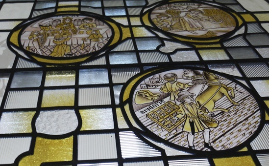 Hand painted medieval stained glass panels