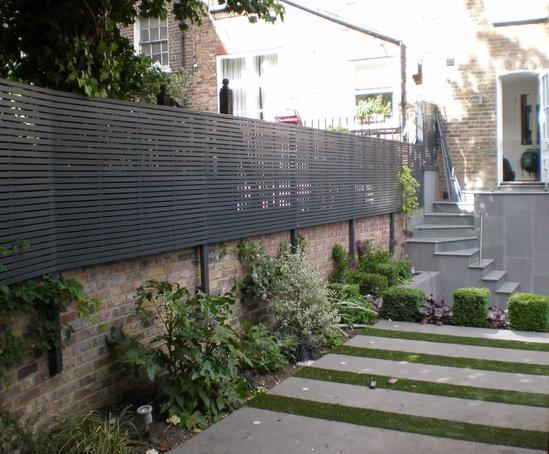 Contemporary slatted timber panels garden trellis for Contemporary garden trellis designs