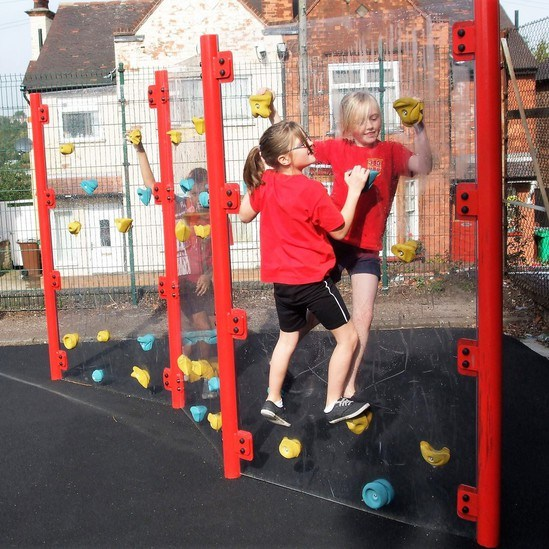 Clear Traverse climbing wall with coated steel posts