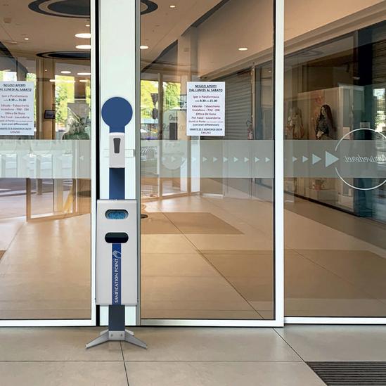 Bering indoor hand sanitiser dispenser and litter bin