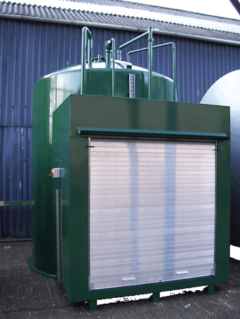 Cylindrical vertical enclosed bunded oil tank