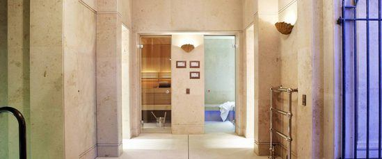 Sauna and steam rooms accessed by frameless glass doors