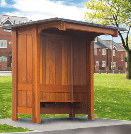 Open Fronted Timber Bus Shelters With Mono Pitch Roof