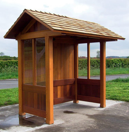 Open Fronted Timber Bus Shelters With Pitched Roof