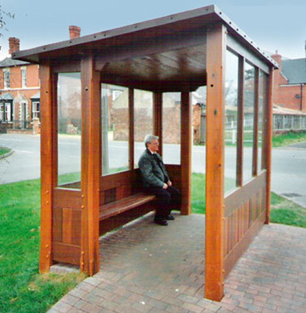 Enclosed Timber Bus Shelters With Mono Pitch Roof