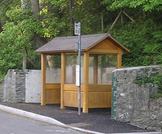 Enclosed Timber Bus Shelters With Pitched Roof