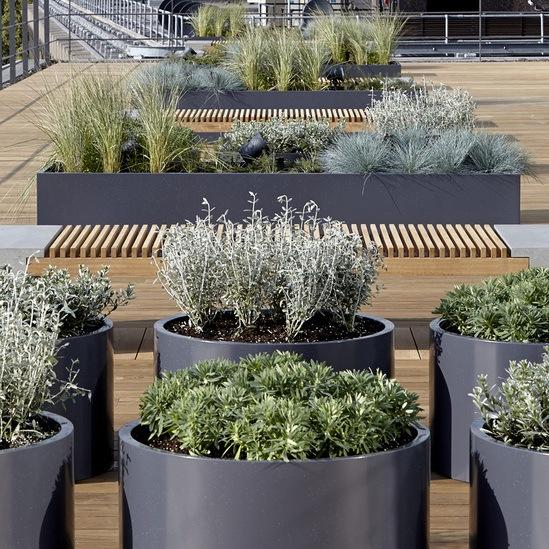 Zintec coated steel planters - Warner Bros, London