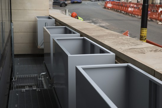 Bespoke steel planters for university of bristol iota for Product design consultancy bristol