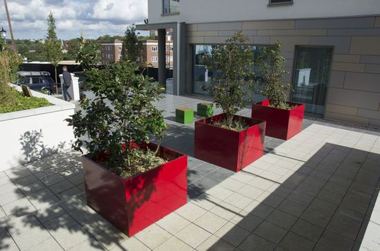 Bespoke steel planters for Hilton hotel, Bournemouth