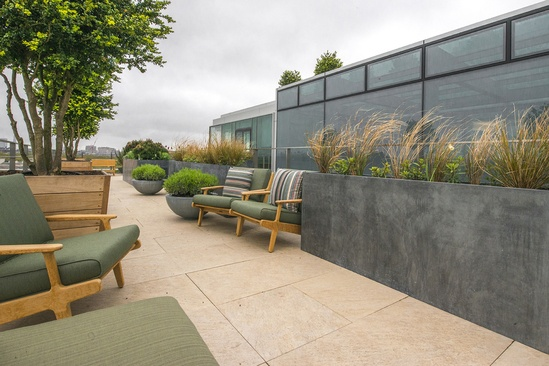 Bespoke zinc planters for corporation HQ in London