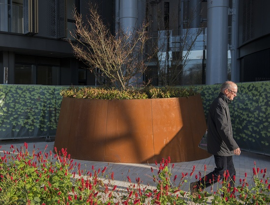 Bespoke corten steel planter for iconic location
