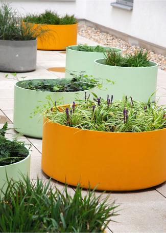 Boulevard Delta 45 Round planters in custom colours