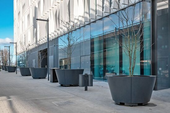Conical steel planters for Imperial College West