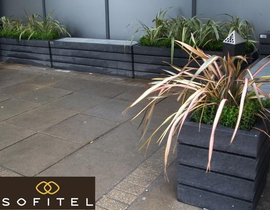 Agora bench and planter at Sofitel, Gatwick