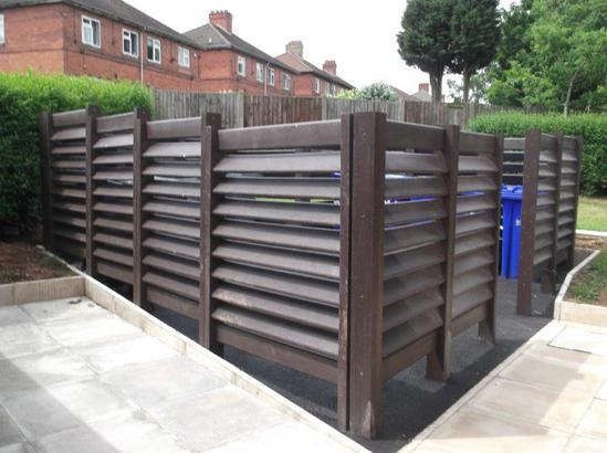 Stoke City Homes - showing 'stepped' bin bay