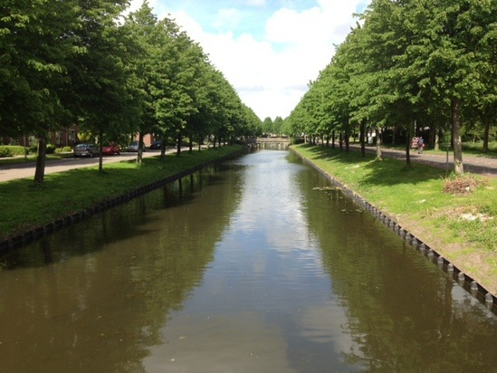 Canal banks through the city of Hoorn, Netherlands