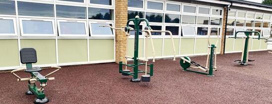 Outdoor fitness equipment at the Hive College