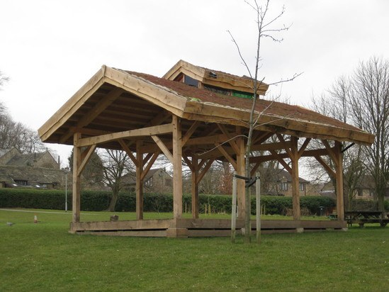 Outdoor classroom with green roof