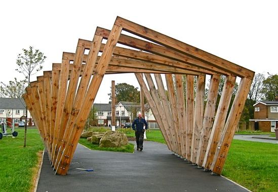 Twisting Frame and Swing Seat in Douglas fir